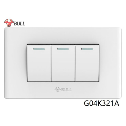 Bull 3 Gang 1 Way Switch Set (White), G04K321A の画像