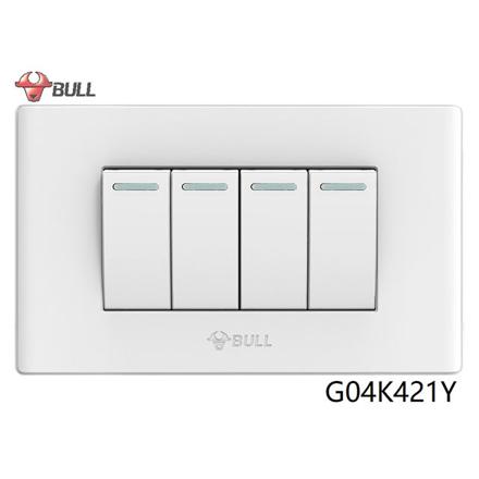 Bull 4 Gang 1 Way Switch Set (White), G04K421Y の画像
