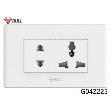 Bull 2 Gang Universal Outlet Set (White), G04Z225 の画像