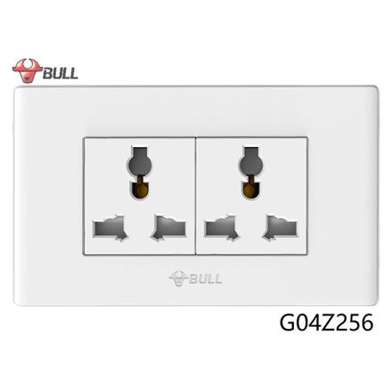Bull 2 Gang Universal Outlet Set (White), G04Z256 の画像