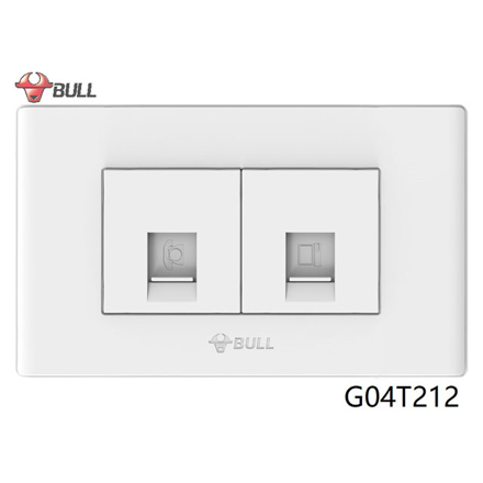 Bull Telephone and Computer Outlet Set (White), G04T212 の画像