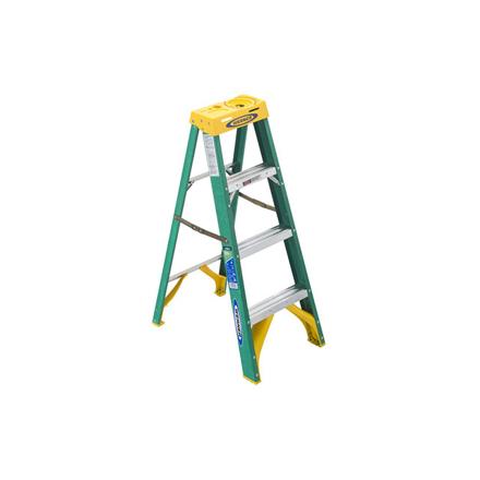 Jinmao 4 Step Fiberglass 5' Step Ladder 225 lbs Green, JMFM22104II の画像