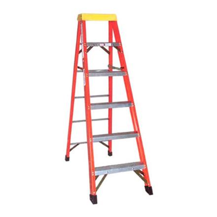 Jinmao 5 Step Fiberglass 6.5' Household Ladder with Big Aluminum Tray Orange 300 lbs, JMFM11105IA の画像