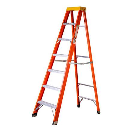 Jinmao 6 Step Fiberglass 7' Step Ladder 300 lbs Orange, JMFM22106IA の画像