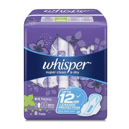 Picture of Whisper Super Clean & Dry, Heavy Flow & Overnights 8 Pads With Wings,  WHI117