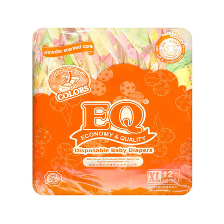 Picture of EQ Diaper Colors Xtra Large 12's, EQ024Y